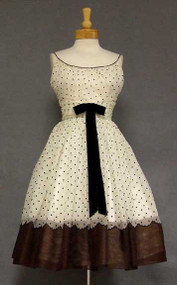 Black, Ivory & Brown Flocked 1950's Cocktail Dress