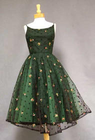 FABULOUS Black & Green Tulle 1950's Cocktail Dress w/ Flocking & Embroidery