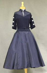 Awesome Navy Taffeta & Crepe 1950's Cocktail Dress w/ Button Trimmed Back