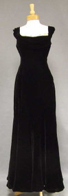 OUTSTANDING Black Velvet 1940's Evening Gown w/ Draped Appliqued Neckline