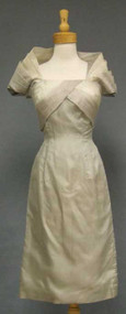 Pearl Grey & Cream Organdy Vintage Cocktail Dress w/ Standup Collar
