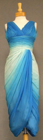 INCREDIBLE Blue Ombre Chiffon Cocktail Dress w/ Tulip Hem