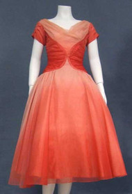 Amazing Coral Ombre Chiffon Cocktail Dress