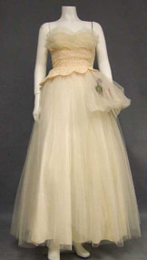 Ivory & Pink Lace & Tulle 1950's Ball Gown