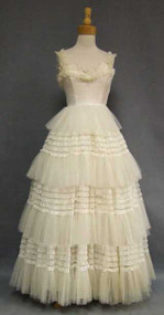 GORGEOUS Ivory Lace & Tulle 1950's Wedding Dress