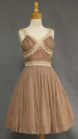 Charming Tan Chiffon 1950's Cocktail Dress w/ Lace Trim
