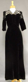 Exquisite Black Velvet 1930's Evening Gown