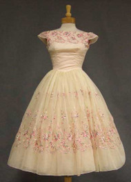 Wonderful Embroidered Chiffon Party Dress w/ Watteau Back