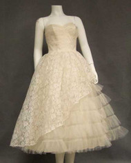 SUPER Ivory Lace & Tulle Strapless 1950's Dress