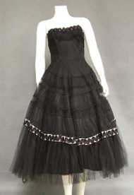 FANTASTIC Black Tulle 1950's Cocktail Dress w/ Pink Satin & Metallic Trim