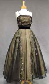 Stunning Embroidered Marquisette 1950's Evening Gown w/ Floral Appliques