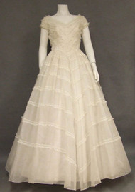 SUPERB Ivory Organdy Will Steinman 1950's Wedding Gown & Headpiece