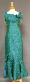 Gorgeous Asymmetrical Blue Green Brocade 1960's Evening Gown