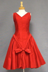 Stunning Red 1950's Cocktail Dress w/ Bows