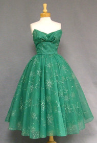 GORGEOUS Emerald Chiffon Strapless 1950's Cocktail Dress