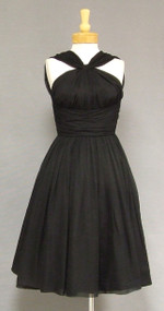Fantastic Black Chiffon 1950's Halter Dress