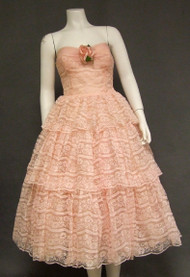 Tiered Pink Lace Strapless 1950's Prom Dress