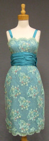 FABULOUS Embroidered Lace & Turquoise Silk Taffeta Cocktail Dress