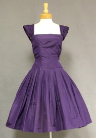 Mollie Parnis Eggplant Silk Taffeta Cocktail Dress w/ Lovely Back