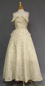 Elegant Cream & Gold Organdy 1950's Ball Gown w/ Winged Bust