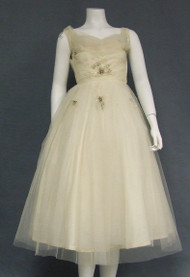 EXQUISITE Ivory Tulle 1950's Wedding Dress w/ Beads & Sequins