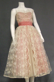 Fred Perlberg Embroidered Ivory Tulle & Salmon Taffeta 1950's Prom Dress