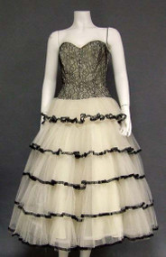 FABULOUS Black Lace & White Tulle Strapless 1950's Cocktail Dress