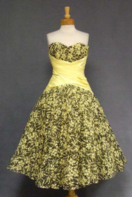 ASTOUNDING Black & Yellow Ribbon Tulle 1950's Cocktail Dress