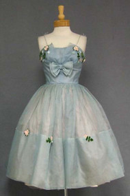 Charming Blue Organdy 1950's Cocktail Dress w/ Floral Appliques