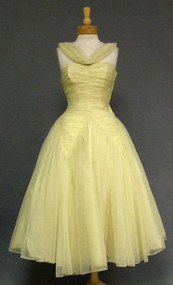 Fabulously Gathered Nylon Chiffon 1950's Prom Dress
