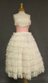Ivory Lace & Tulle 1950's Prom Dress w/ Pleated Pink Waist