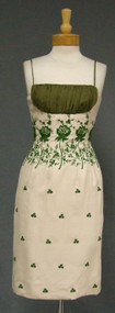 FABULOUS Embroidered Cocktail Dress w/ Gathered Organdy Bust
