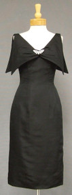 Stylish Black Faille 1950's Wiggle Dress