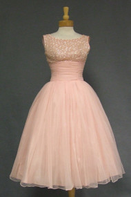 Floating Pink CHiffon Cocktail Dress w/ Sequins