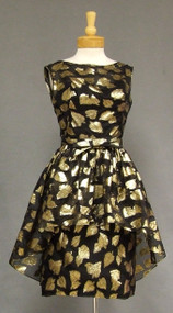 Bombshell Black & Gold Vintage Cocktail Dress w/ Double Skirt