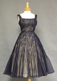 UNIQUE Twisted Pintucked Navy 1950's Cocktail Dress