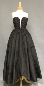 Gorgeous Black Taffeta 1950's Ball Gown w/ Illusion Plunge