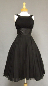 Pleated Black Chiffon & Satin 1950's Halter Dress