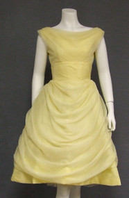 Superb Draped Lemon Chiffon Vintage Cocktail Dress