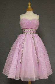 Ruffled Lavender Chiffon Vintage Prom Dress w/ Floral Embroidery