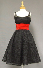 Striking Black Lace & Red Velveteen 1950's Cocktail Dress