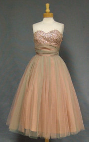 Gorgeous Rose & Mint Tulle 1950's Prom Dress w/ Sequined Bodice