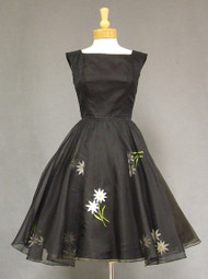 Black Organdy Vintage Cocktail Dress w/ Floral Embroidery
