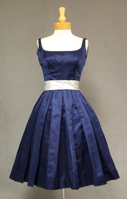 Saks Fifth Navy & Sky Blue Satin 1960's Cocktail Dress