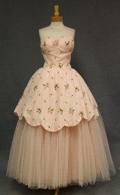 Embroidered Pink Floral Nylon & Tulle 1960's Ball Gown