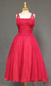 AMAZING Fluttering Hot Pink Chiffon 1950's Cocktail Dress