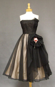 Fabulous Black Marquisette 1950's Cocktail Dress w/ Unique Details