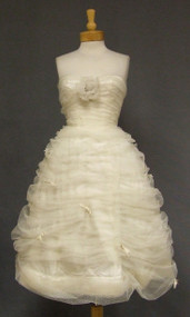 CUPCAKE Gathered Ivory Tulle 1950's Cocktail Dress