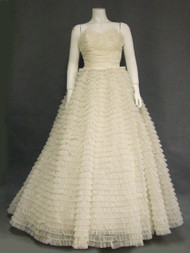 Ruffled Nylon 1960's Wedding Gown