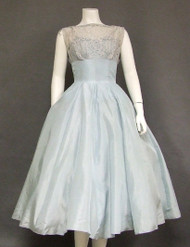 Sweet Blue Taffeta & Lace 1950's Cocktail Dress